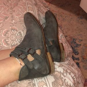 Free People grey leather booties with straps